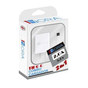 Cargador para celular 1 HORA tipo C (cubo + cable)